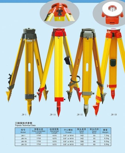 Durable Wooden tripod for Total Station, Automatic Level, GPS with Red Color